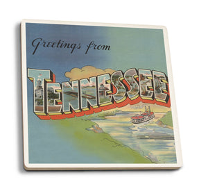 Greetings from Tennessee Riverboat Scene - Ceramic Coasters