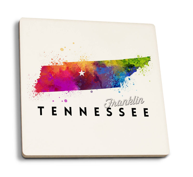 Franklin - Tennessee Abstract Watercolor Coaster