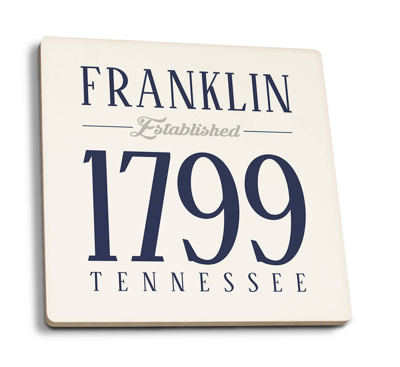 Franklin - Tennessee Established Date (Blue) Ceramic Coaster