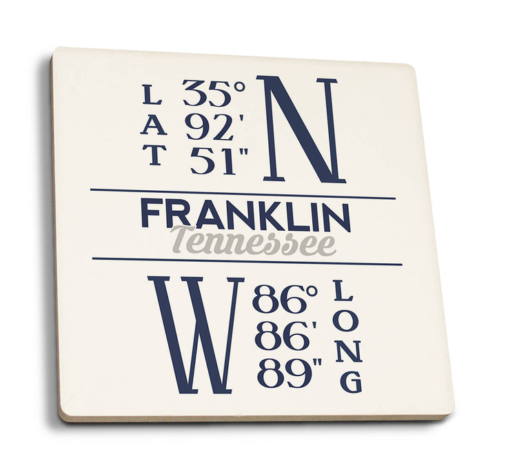 Franklin - Tennessee Coordinates (Blue) Ceramic Coaster