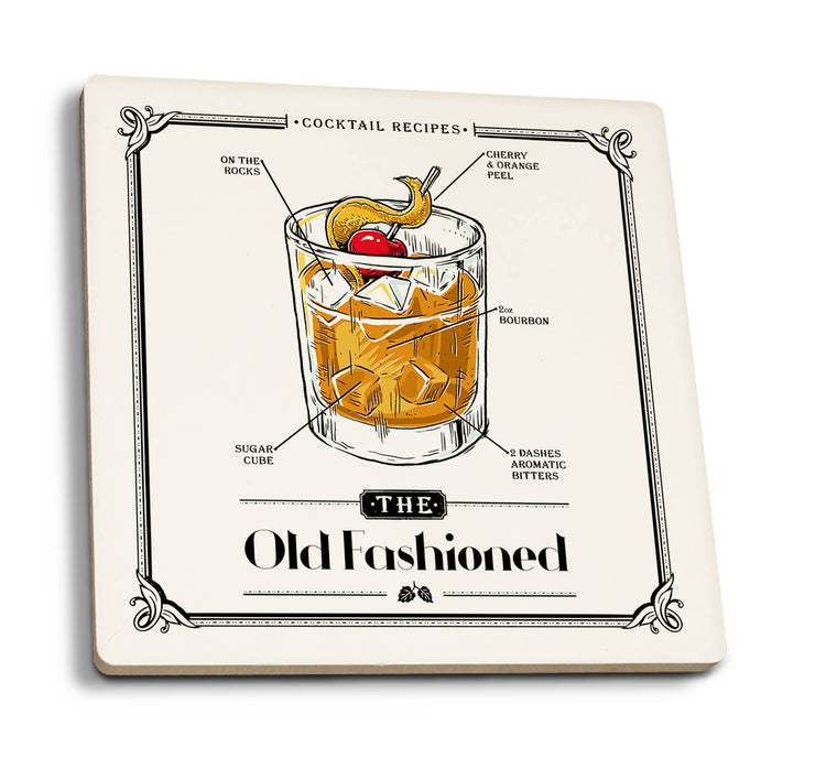 Lantern Press - Prohibition Cocktail Recipe Old Fashioned Ceramic Coasters