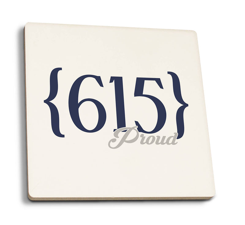 Tennessee 615 Area Code (Blue) Ceramic Coasters