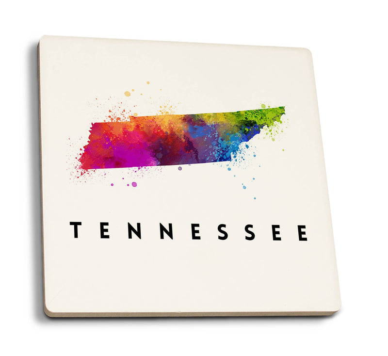 Tennessee - State Abstract Watercolor Ceramic Coaster