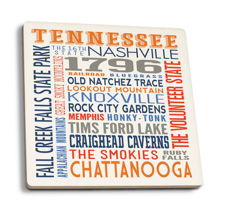 Tennessee Typography Ceramic Coaster