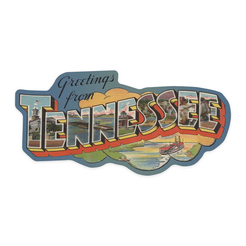 Greetings from Tennessee Vinyl Die-cut Sticker, Indoor/Outdoor