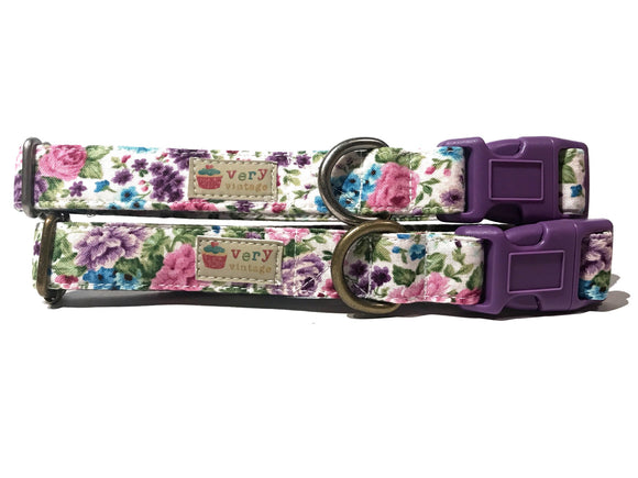 Princess Blooms Organic Cotton Pet Collar (Antique Silver)