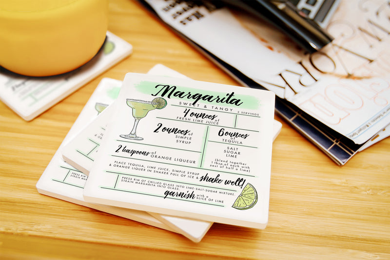 Margarita - Cocktail Recipe Ceramic Coasters