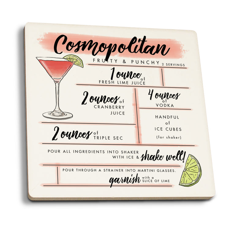Cosmopolitan - Cocktail Recipe Ceramic Coasters