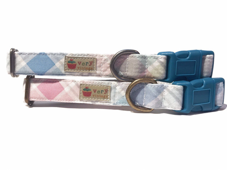 Spring Plaid Organic Cotton Pet Collar (Antique Silver)