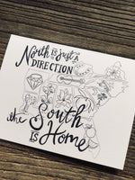 The South is Home B&W folded linen note cards w/envelopes
