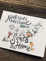 The South is Home color folded linen note cards w/envelopes