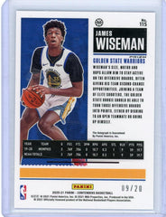 2020-21 Contenders JAMES WISEMAN ROOKIE AUTO BLUE SHIMMER /20 RC RARE