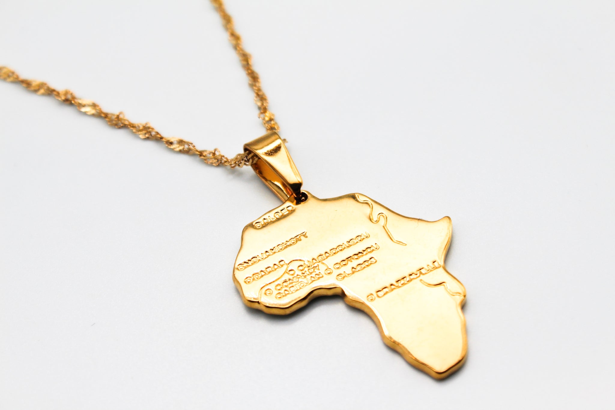 18K Gold Plated Africa Necklace