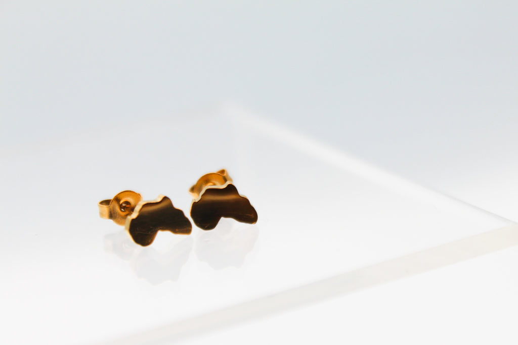 18K gold plated Africa earrings
