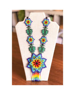 "The ""Flower Burst"" Seed Bead Necklace (Teal)"