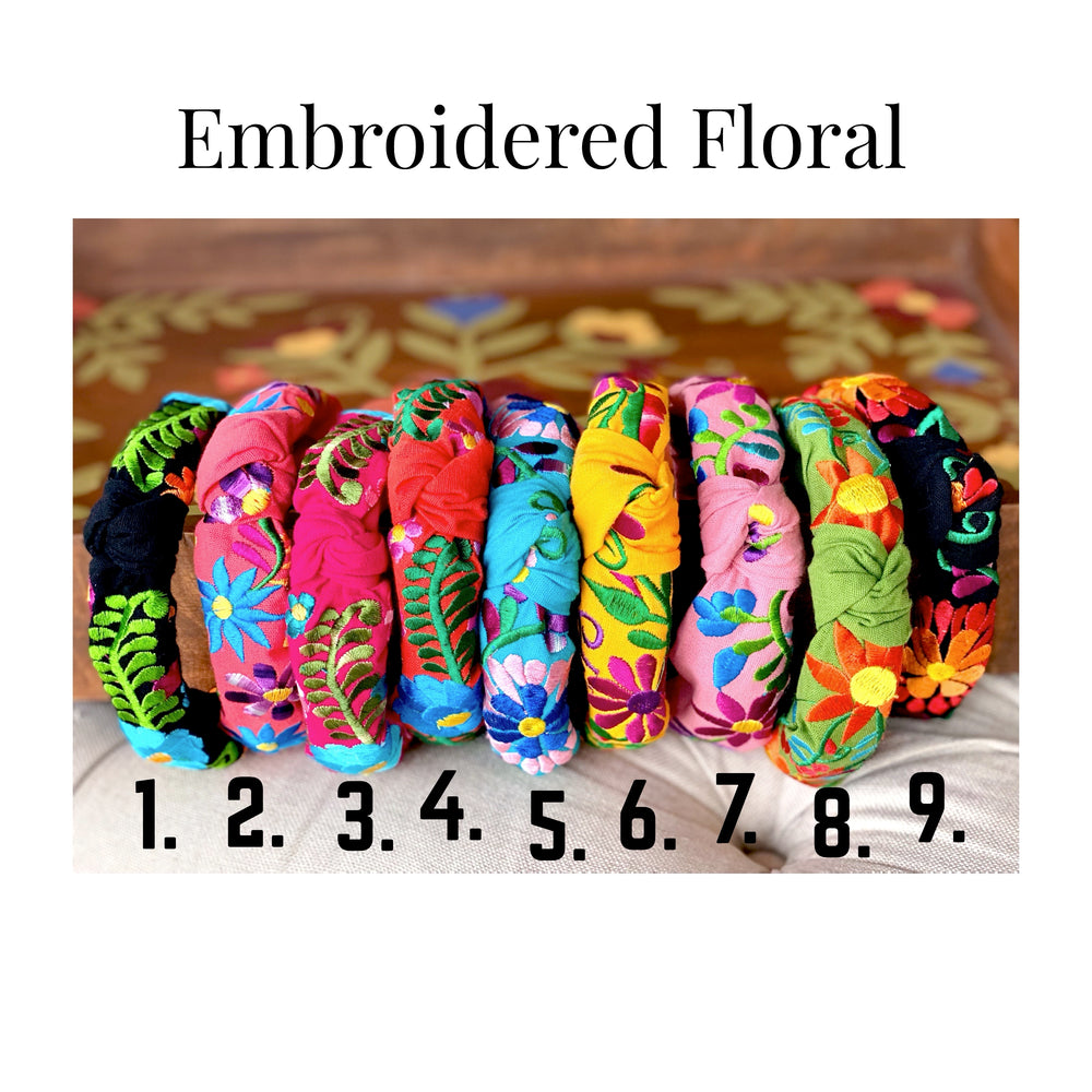 Embroidered Floral Knotted Headbands