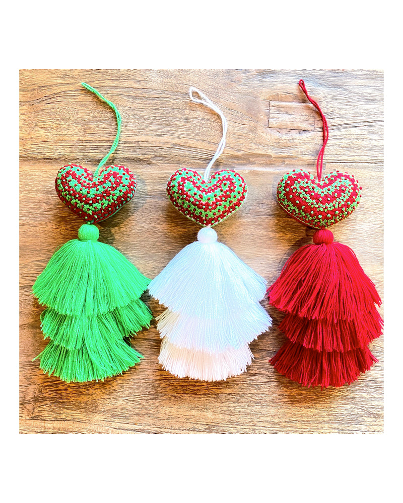 Embroidered Heart Tassels