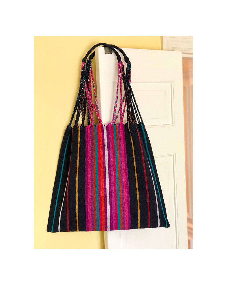 "The ""Hammock"" Bag in Black (w/ white stripe)"