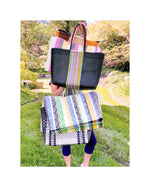 "The ""Hailey"" Tote (Black/Multi-Color Stripe)"