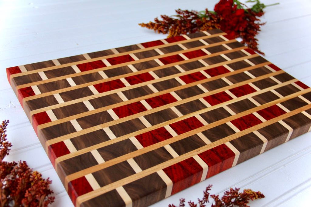 Maple, Walnut & Padauk Brick Prep Board
