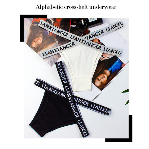 Alphabetic cross-belt underwear