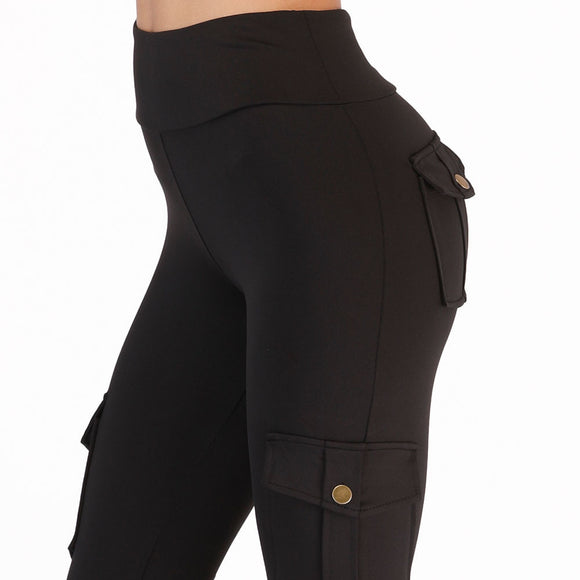 High Waist Army Style Leggings with Pockets