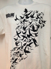 White T-shirt with Black Bird Logo