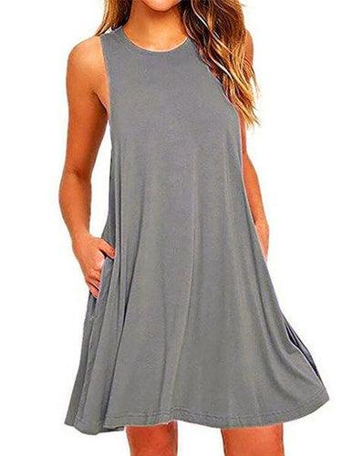 Crew Neck Sleeveless Casual Dress