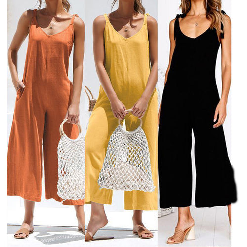 Sleeveless Sling V-Neck Tie Wide-Leg Jumpsuits
