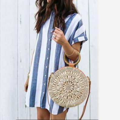 Casual Vacation Striped Button Down Shirt Dress