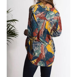Multicolor Leaf Pockets Shirt Collar Vintage Blouses