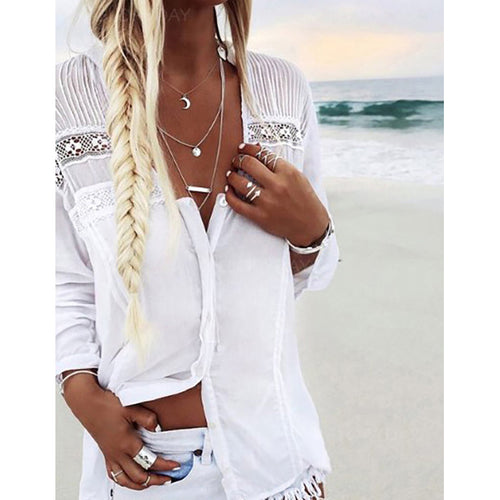 V Neck Button Lace Hollow Blouses