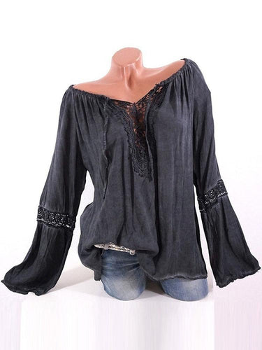 Lace Stitching Pure Color Off Shoulder Shirts For Women