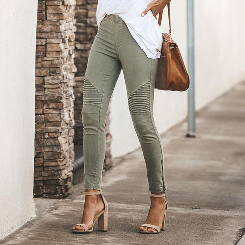 Elastic Waist Solid Color Slim Pants