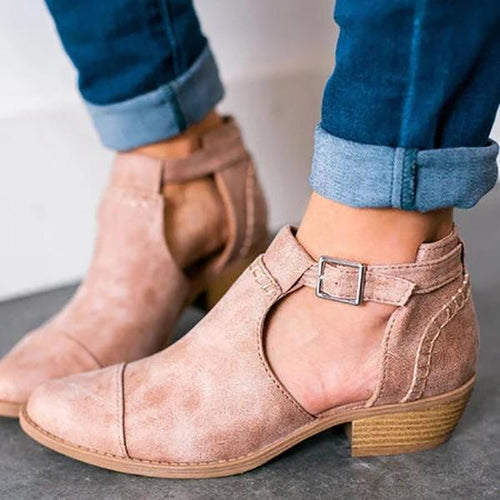 Women Nubuck Booties Casual Comfort Adjustable Buckle Shoes