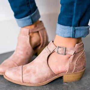 9a7304ae646e Women Nubuck Booties Casual Comfort Adjustable Buckle Shoes