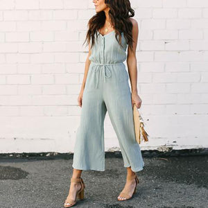 f189074df9 Fashion Solid Color Sleeveless Jumpsuits