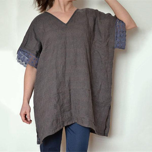 Lace Stitching Loose V Neck Blouse