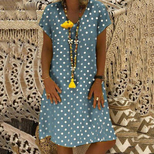Plus Size Dot Printed Loose Dresses