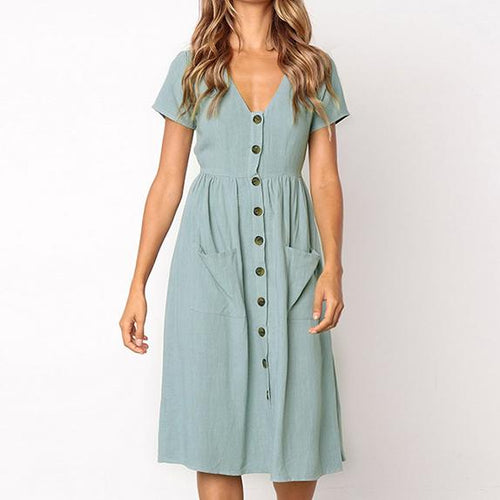 Summer Elegant  V Neck Button Decorative Swing Dress With Pockets