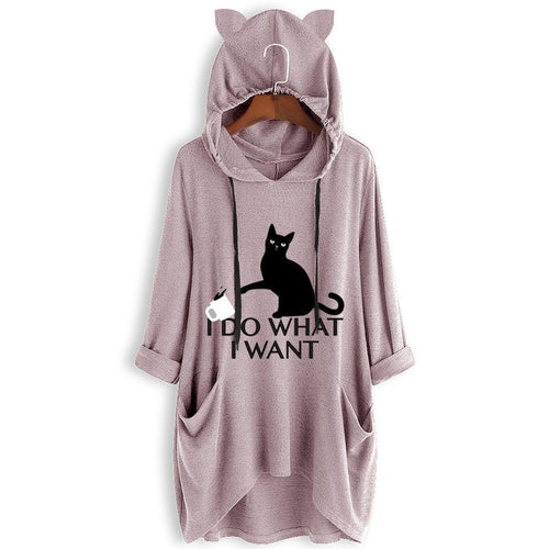 Print Cat Ear Hooded Side Pockets Sweatshirt