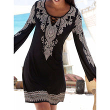 V Neck Black Women Fall Dresses Shift Daytime Geometric Dresses