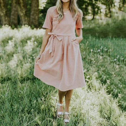 Casual Sweet Lace-Up Dresses