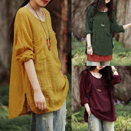 Vintage Women Long Sleeve Cotton Loose Casual Tops Blouse T-Shirt