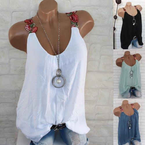 Embroidered Lace V-neck Sling Vest