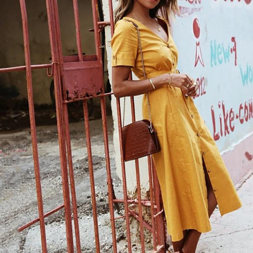 Vintage V Neck Lace-Up Dress