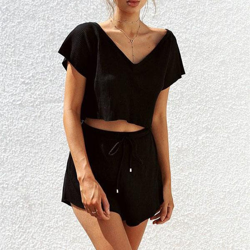 Two Piece Solid Color Short Sleeve Sets