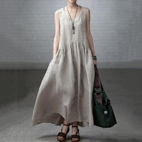Linen V-neck Sleeveless Ruffled Long Dress