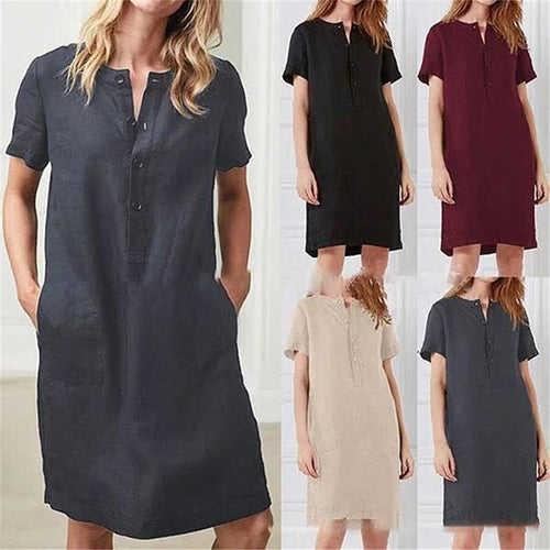 Casual Short Sleeve T- Shirt Dress