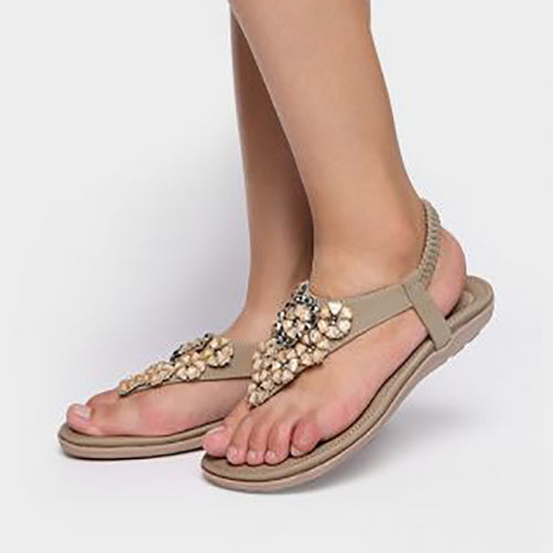 Flower Imitated Crystal Flat Sandals